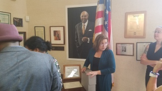 Seminar participants went to the Western Reserve Historical Society Library to view the Carl Stokes Papers