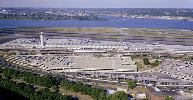 Aerial view of Ronald Reagan Washington National Airport.