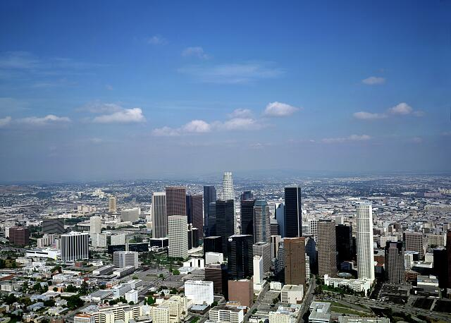 Aerial view of Los Angeles.  Photograph taken in the 1980s.